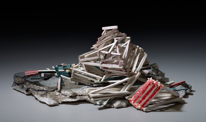 """""""Structural Integrity"""", 2013, earthenware and porcelain, 6""""x3.5""""x4"""". Image by E.G Schempf."""